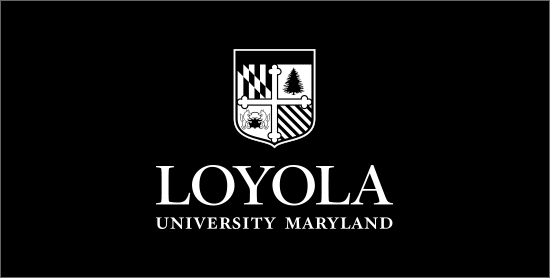 Reversed black and white Loyola logo on a black background