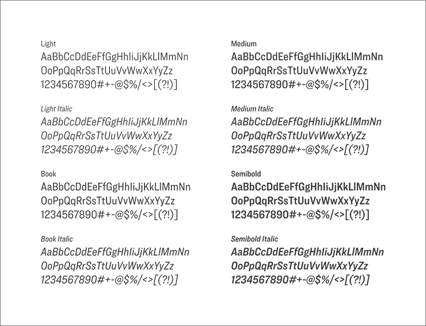 Smaller examples of the Ringside font family, showing the entire alphabet and numbers