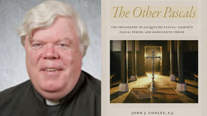 Photo depicting headshot of Father Conley next to his new book 'The Other Pascals'