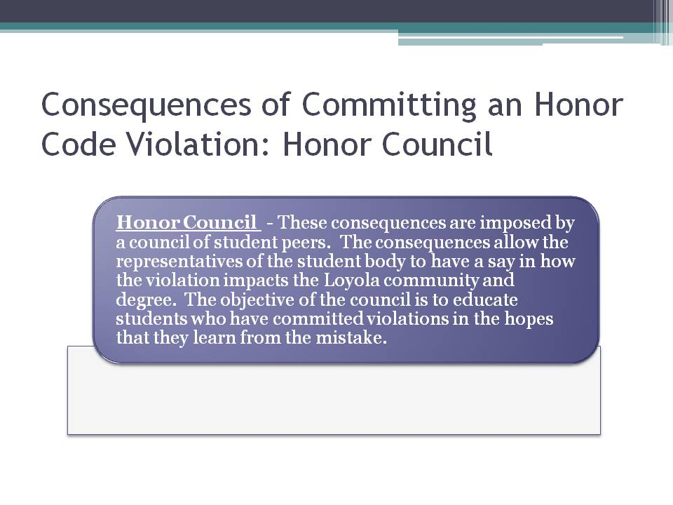 Honor Council Consequences of Commiting an Honor Code violation