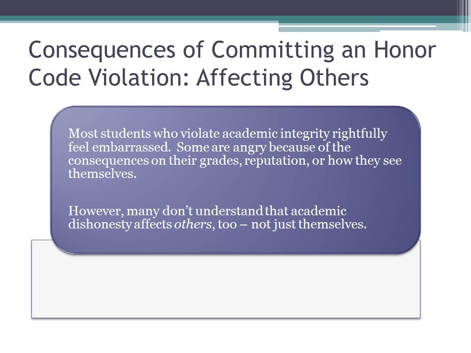 Consequences of Committing an Honor Code Violation: Affecting Others
