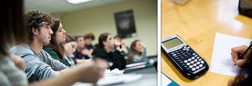 Student listening in class and student using calculator