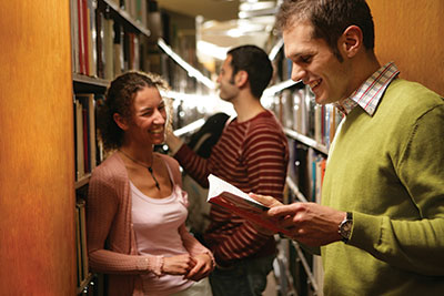 Students talking at the library