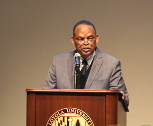 Dr. Wilson at the podium