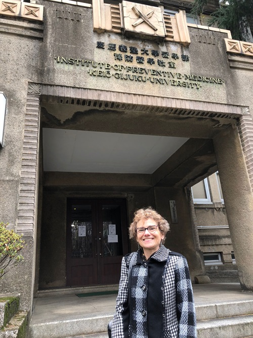 Amy Wolfson in front of Keio University Medical School, Tokyo, Japan