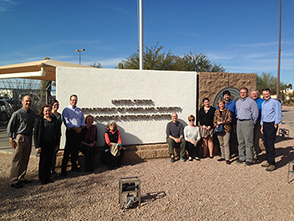 Rachel Grover (second from left) and immersion trip colleagues at the ICE detention center in Florence, Ariz.