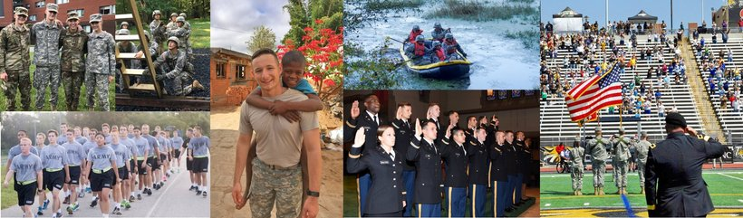 Montage of ROTC service, training, and ceremonies