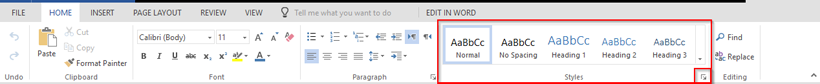 Screenshot of the Headings Tool in Microsoft Office Suite