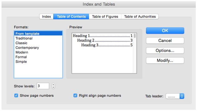 Table of Contents Dialog Box in Microsoft Word