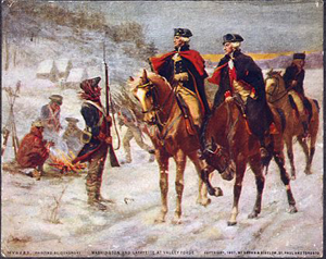 George Washington and Lafayette on horseback talking to soldiers in snow at Valley Forge.