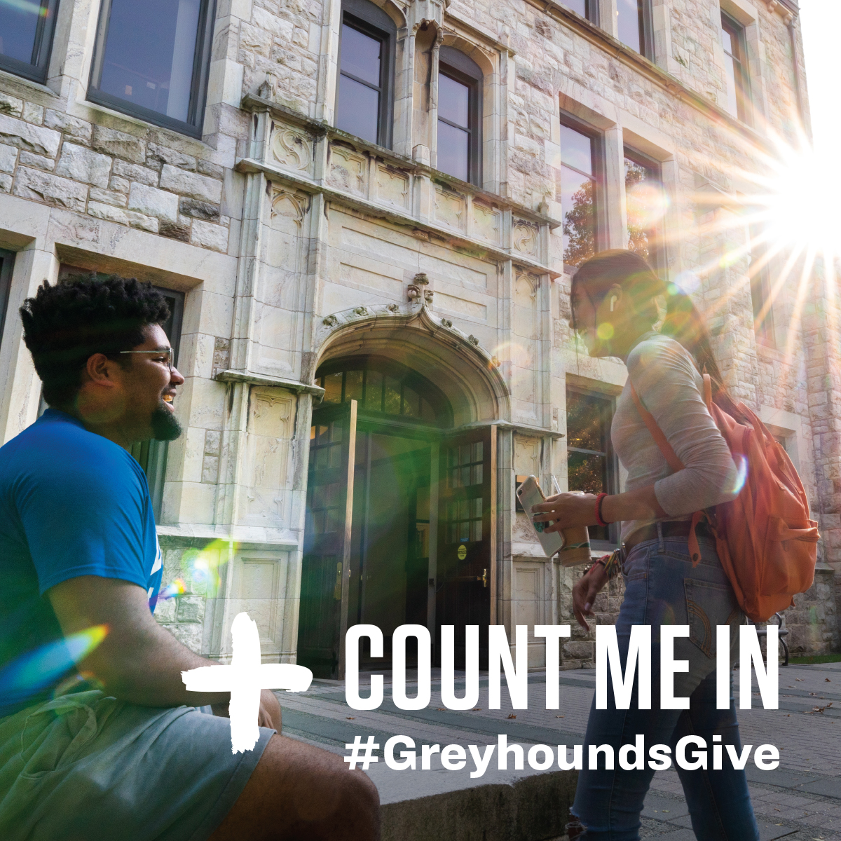 Greyhounds Give sharing image - students outside of Jenkins Hall