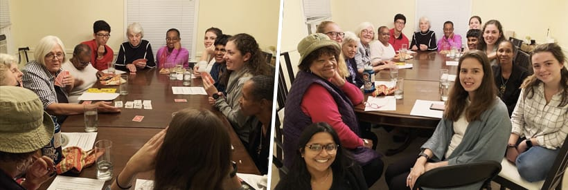 Three photos of groups of students smilling at Alphonsus Dinner