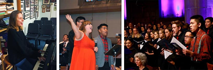 Three pictures: Student playing piano, student singing, and choir singing