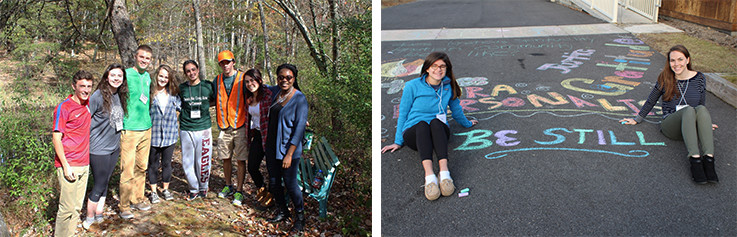Ignite Retreat group and girls sitting next to chalk art work at Loyola Retreat Center
