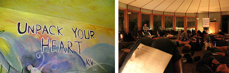 Kairos Retreat banner with participants sitting in quiet reflection and