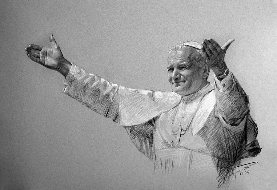 black and white sketch of pope john paul the second extending his arms