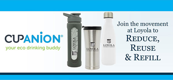 Water bottles with text: 'Cupanion your eco drinking buddy'