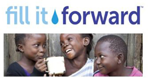 Fill it forward with image of young children smiling and drinking clean water