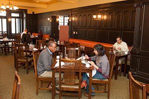 People dining together in Refectory dining room