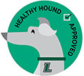 Smiling greyhound with text: 'Healthy Hounds Approved'