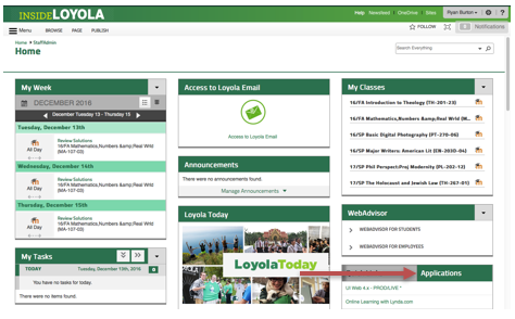 Inside Loyola home screen