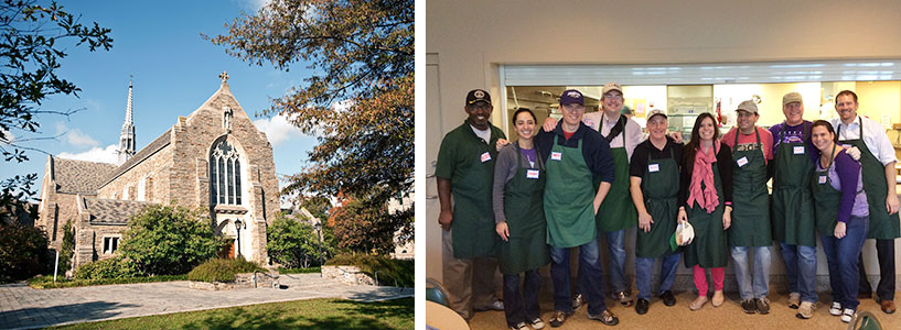 Collage of dining staff and Alumni Chapel