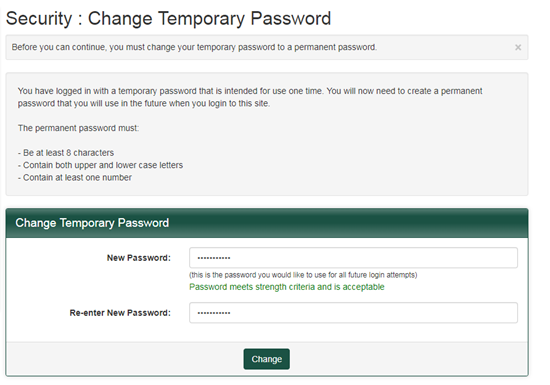 green bar change temporary password to permanent password