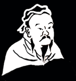 black and white image of confucius