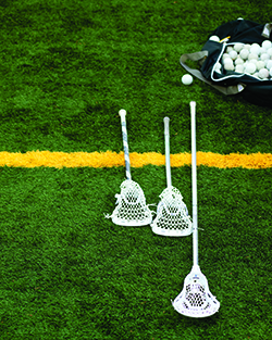 Lacrosse gear on field