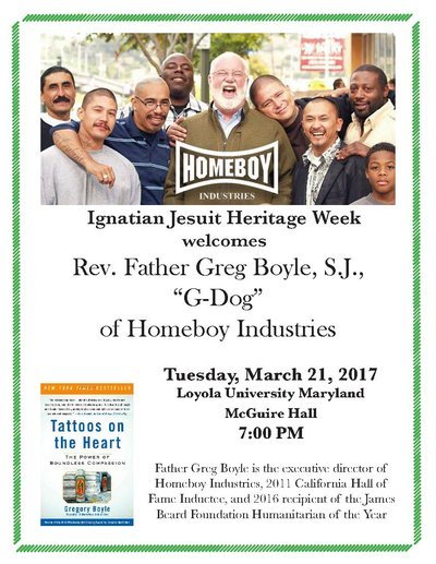 Flyer promoting Greg Boyle Lecture on Tuesday, March 21 at 7pm in McGuire Hall