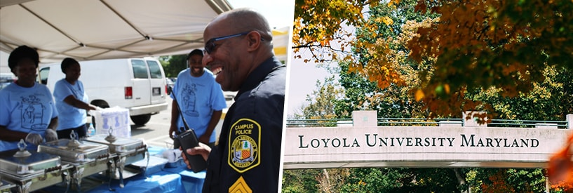 Public safety officer with York Road community members, and the Loyola University Maryland bridge