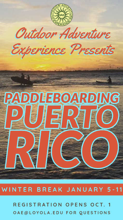 OAE Puerto Rico Winter Break Flyer. Picture of paddleboarders in sunset.