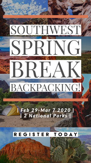 South West Spring Break Backpacking / Feb 29-March7 / 2 National Parks / Register today flyer with southwest collage background