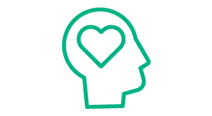Emotional icon: heart in head
