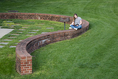 Student studying on top of a long, winding, brick wall