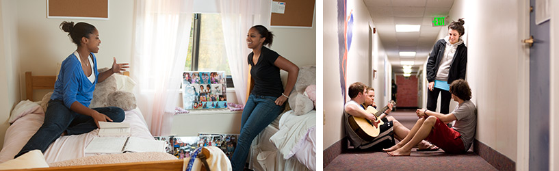 Collage of students in residence halls