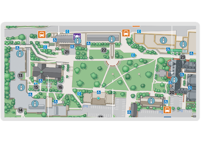 map detailing hydration stations on Evergreen Campus