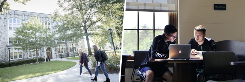 Students walking near Jenkins Hall; Student and tutor working together in The Study