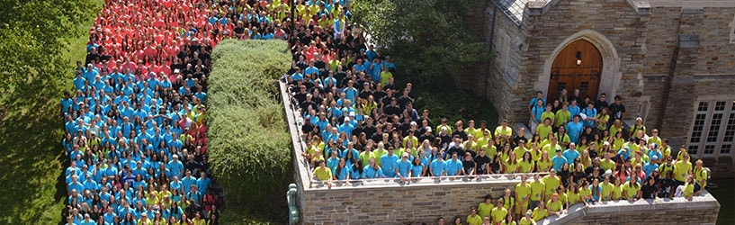 View of the Chapel with Messina students from the Class of 2020 standing on the steps