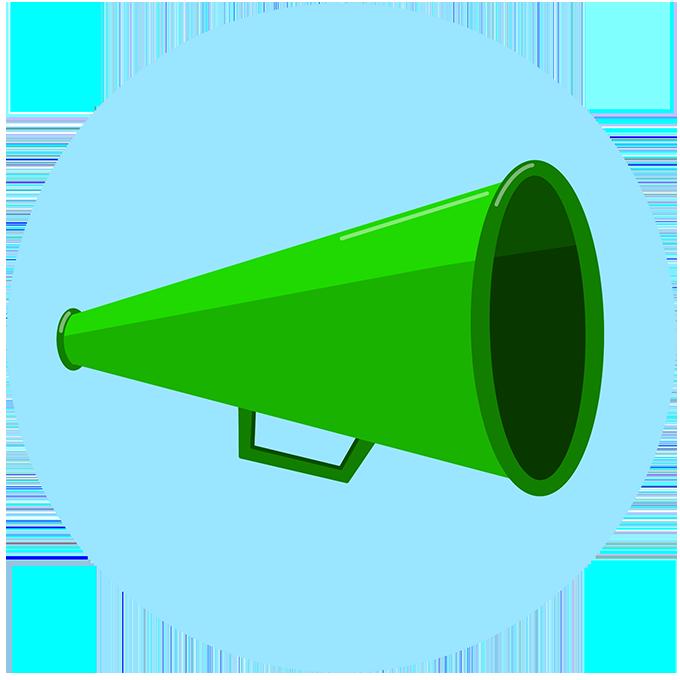 Illustration of green bullhorn