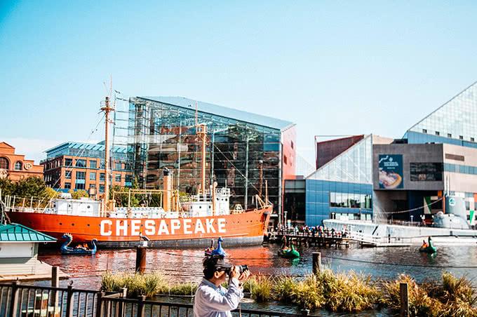 Chesapeake ship on harbor next to aquarium