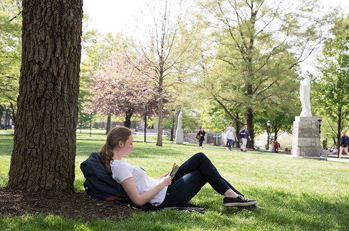 A student enjoys a book under the shade of one of the quad's many trees.