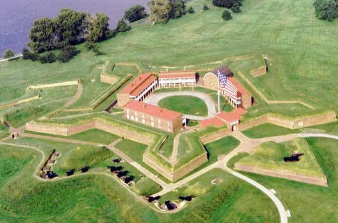 An aerial view of Fort McHenry, a pentagonal fort near the harbor in Baltimore, MD