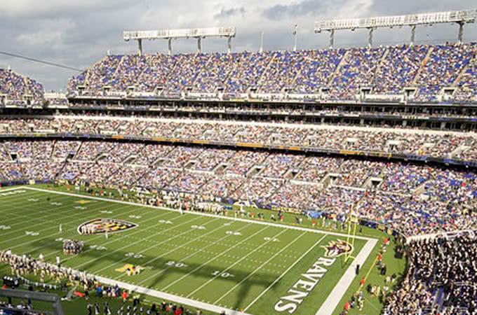 Ravens stadium as seen from the stands