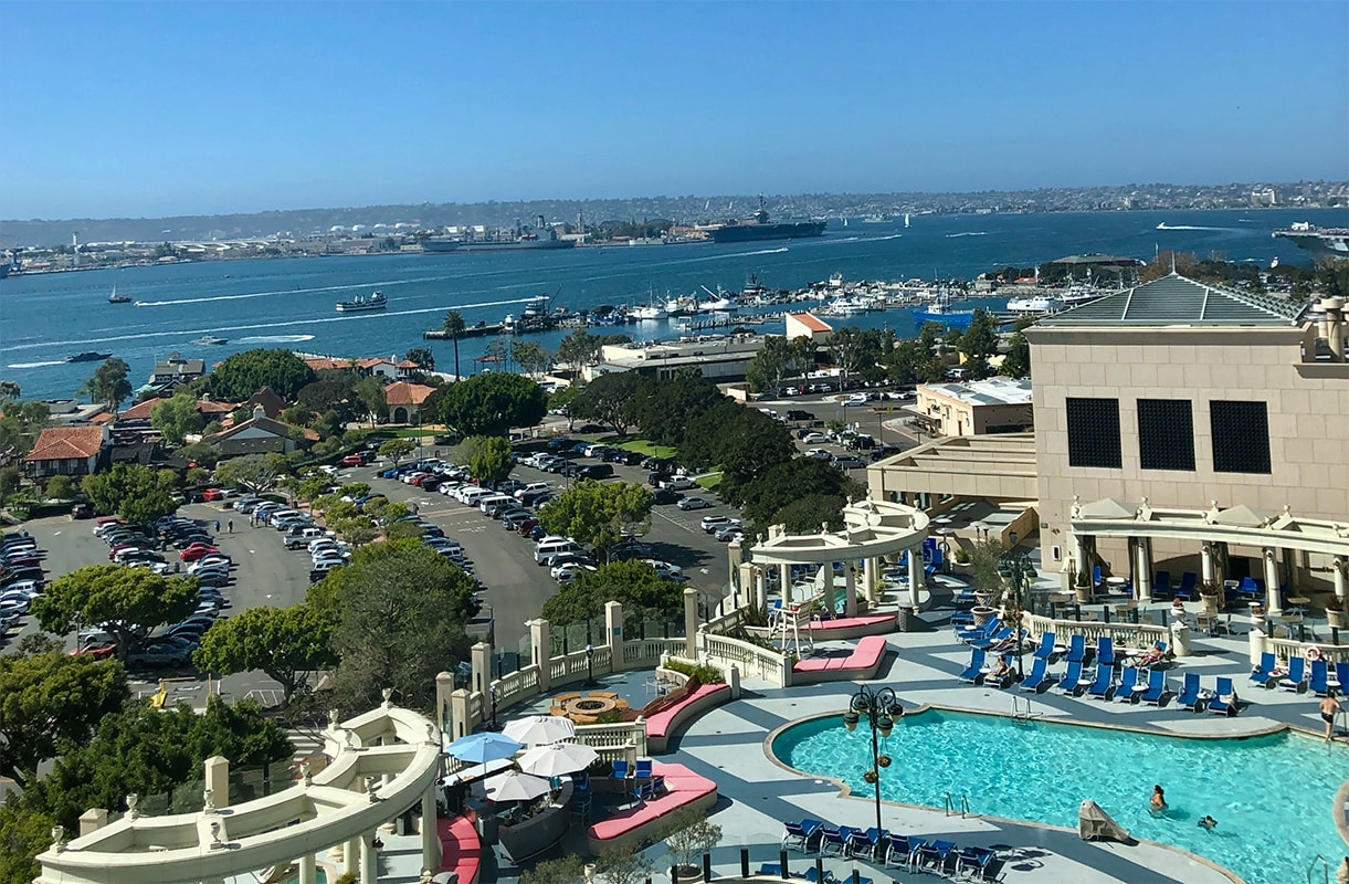 View from the Grand Hyatt hotel of the hotel pool and the San Diego Bay