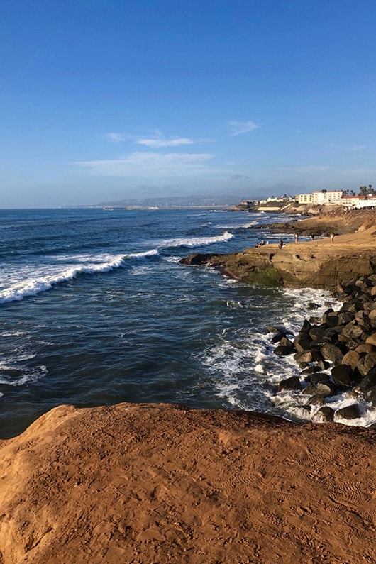 The shoreline at Sunset Cliffs, San Diego