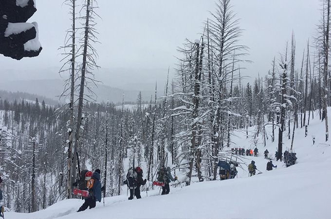 Students backpack through the snowy wilderness.