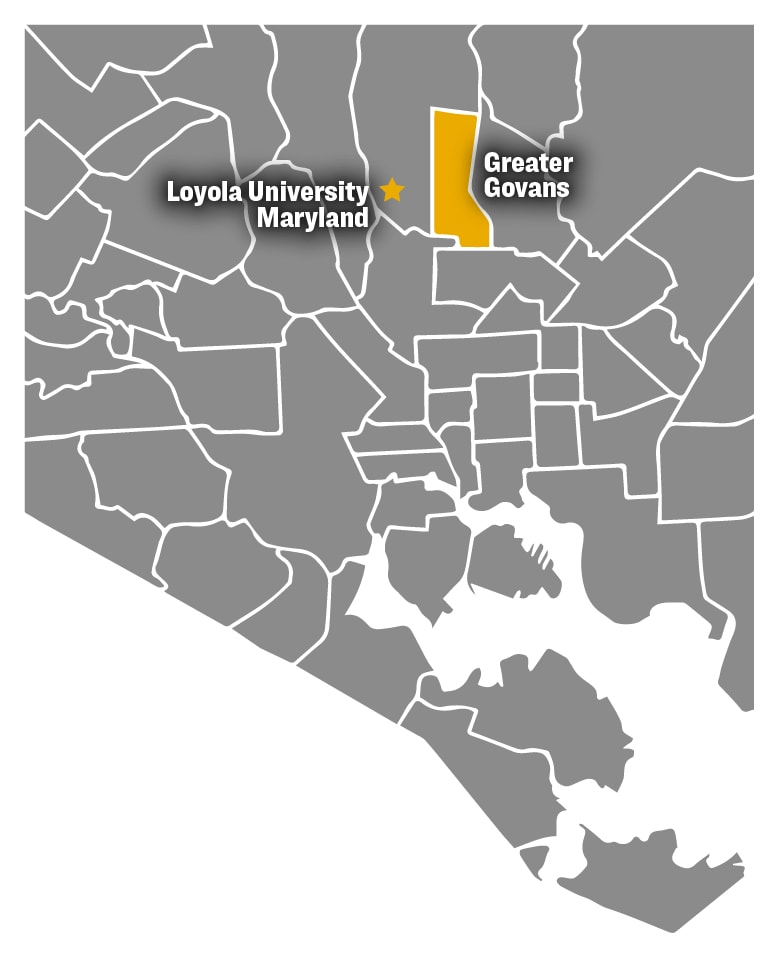 Map of Baltimore City with the Greater Govans neighborhood highlighted
