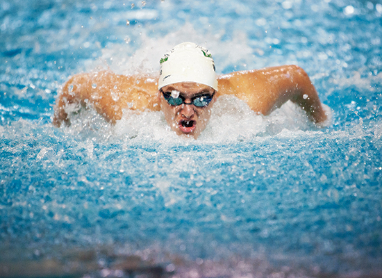 Joe Wise swims with intensity and dedication.