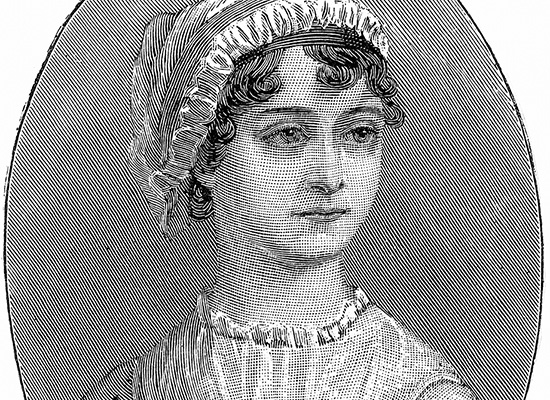 Old illustration of Jane Austen.